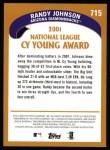 2002 Topps #715   -  Randy Johnson NL Cy Young Award Back Thumbnail