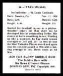 1948 Bowman REPRINT #36  Stan Musial  Back Thumbnail