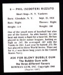 1948 Bowman REPRINT #8  Phil Rizzuto  Back Thumbnail