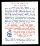 1949 Bowman REPRINT #35  Vic Raschi  Back Thumbnail