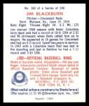 1949 Bowman REPRINT #160  Jim Blackburn  Back Thumbnail