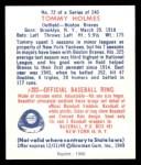 1949 Bowman REPRINT #72  Tommy Holmes  Back Thumbnail