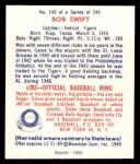 1949 Bowman REPRINT #148  Bob Swift  Back Thumbnail
