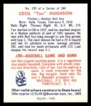 1949 Bowman REPRINT #199  Tex Hughson  Back Thumbnail