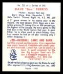1949 Bowman REPRINT #211  Boo Ferriss  Back Thumbnail