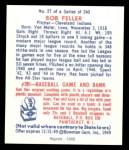 1949 Bowman REPRINT #27  Bob Feller  Back Thumbnail