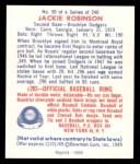 1949 Bowman REPRINT #50  Jackie Robinson  Back Thumbnail