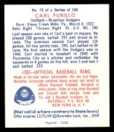 1949 Bowman REPRINT #70  Carl Furillo  Back Thumbnail