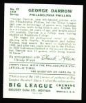 1934 Goudey Reprint #87  George Darrow  Back Thumbnail