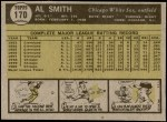 1961 Topps #170  Al Smith  Back Thumbnail