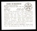 1950 Bowman REPRINT #3  Dom DiMaggio  Back Thumbnail