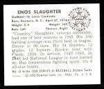 1950 Bowman REPRINT #35  Enos Slaughter  Back Thumbnail