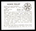 1950 Bowman REPRINT #72  Howie Pollet  Back Thumbnail