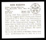 1950 Bowman REPRINT #5  Bob Kuzava  Back Thumbnail