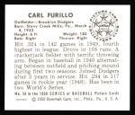 1950 Bowman REPRINT #58  Carl Furillo  Back Thumbnail