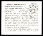 1950 Bowman REPRINT #113  Gene Hermanski  Back Thumbnail