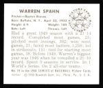 1950 Bowman REPRINT #19  Warren Spahn  Back Thumbnail