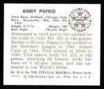 1950 Bowman REPRINT #60  Andy Pafko  Back Thumbnail