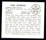 1950 Bowman REPRINT #248  Sam Jethroe  Back Thumbnail