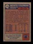 1985 Topps #179  Monte Coleman  Back Thumbnail