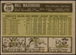 1961 Topps #430  Bill Mazeroski  Back Thumbnail