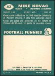 1960 Topps CFL #43  Mike Kovac  Back Thumbnail
