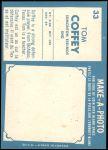 1961 Topps CFL #33  Tommy Joe Coffey  Back Thumbnail