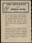 1962 Topps CFL #50  Jim Letcavits  Back Thumbnail