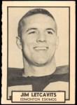 1962 Topps CFL #50  Jim Letcavits  Front Thumbnail