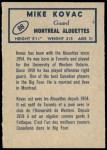 1962 Topps CFL #88  Mike Kovac  Back Thumbnail