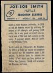 1962 Topps CFL #56  Joe-Bob Smith  Back Thumbnail