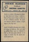 1962 Topps CFL #87  Bernie Hansen  Back Thumbnail
