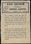 1962 Topps CFL #77  Ron Brewer  Back Thumbnail