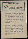 1962 Topps CFL #84  Ted Elsby  Back Thumbnail