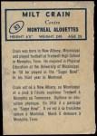 1962 Topps CFL #83  Milt Crain  Back Thumbnail