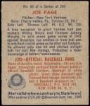 1949 Bowman #82  Joe Page  Back Thumbnail