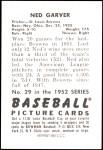 1952 Bowman REPRINT #29  Ned Garver  Back Thumbnail