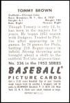1952 Bowman REPRINT #236  Tom Brown  Back Thumbnail