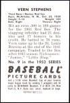 1952 Bowman REPRINT #9  Vern Stephens  Back Thumbnail