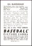 1952 Bowman REPRINT #33  Gil McDougald  Back Thumbnail