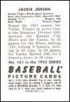1952 Bowman REPRINT #161  Jackie Jensen  Back Thumbnail