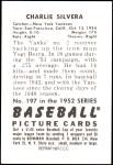 1952 Bowman REPRINT #197  Charlie Silvera  Back Thumbnail