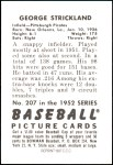 1952 Bowman REPRINT #207  George Strickland  Back Thumbnail