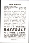 1952 Bowman REPRINT #211  Paul Minner  Back Thumbnail