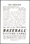 1952 Bowman REPRINT #221  Lou Kretlow  Back Thumbnail