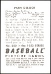 1952 Bowman REPRINT #250  Ivan Delock  Back Thumbnail