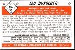 1953 Bowman REPRINT #55  Leo Durocher  Back Thumbnail