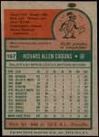 1975 Topps Mini #167  Rich Coggins  Back Thumbnail