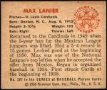 1950 Bowman #207 CR Max Lanier  Back Thumbnail