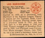 1950 Bowman #220 CR Leo Durocher  Back Thumbnail
